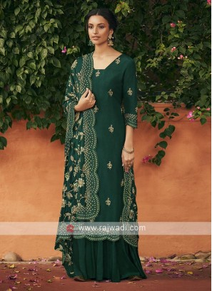 Silk dress material in bottle green color