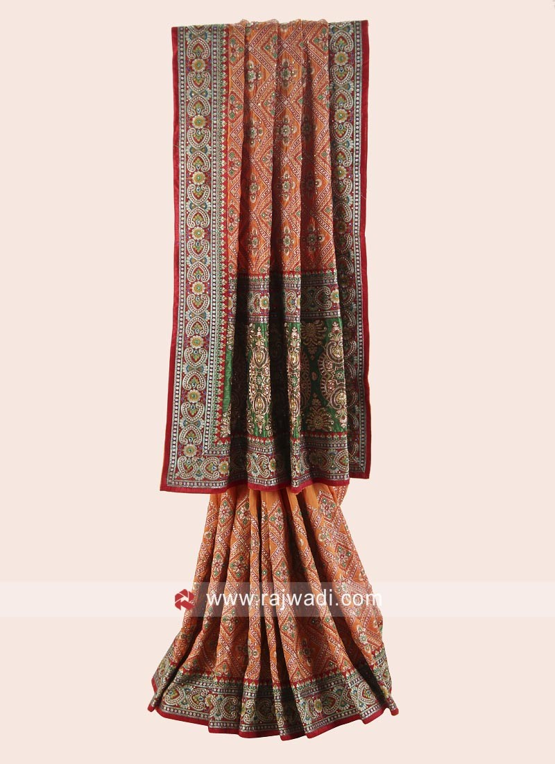 Silk Bridal Gharchola with Blouse