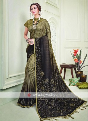 Silk Brown And Mehndi Green Shaded Saree