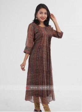 Silk Brown Color Kurti