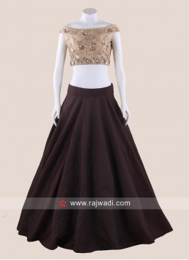 Silk Brown Lehenga with Cream Crop Top