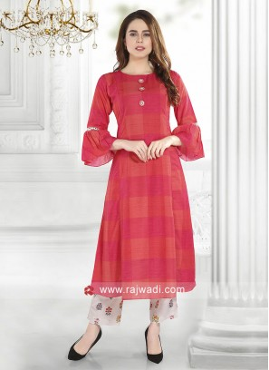 Silk Checks Print Kurti with Bottom