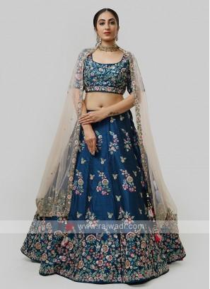 Silk Choli Suit In Blue