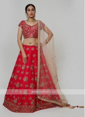 Silk Choli Suit In Dark Rani Color