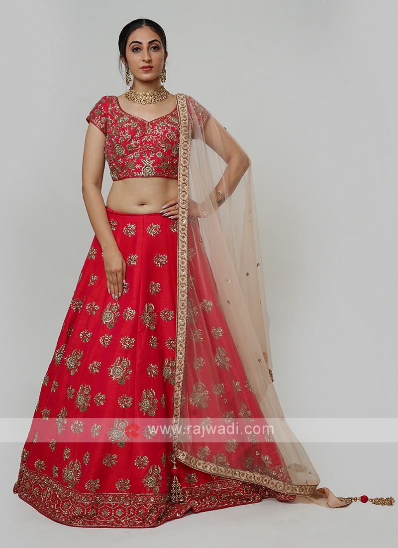 Silk Choli Suit In Dark Rani Color