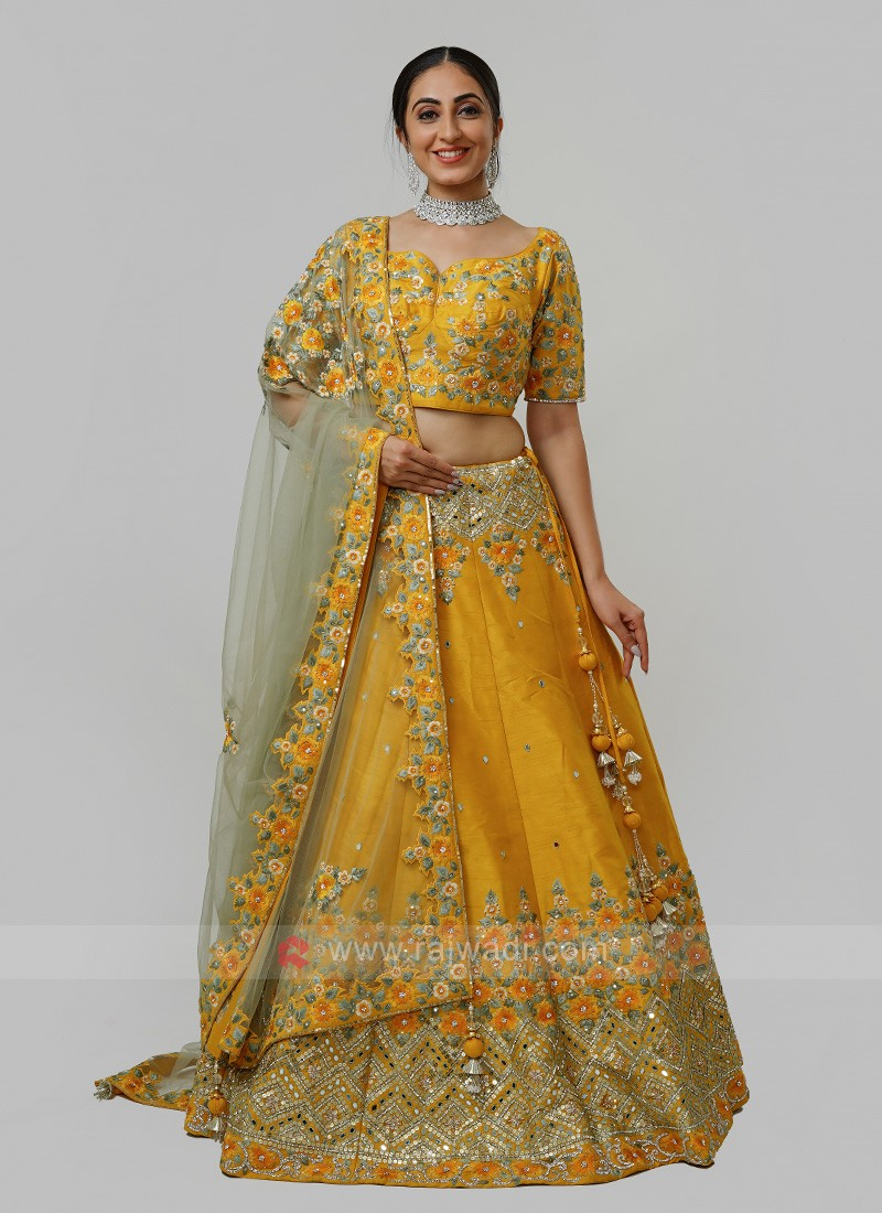 Silk Choli Suit In Mustard Yellow