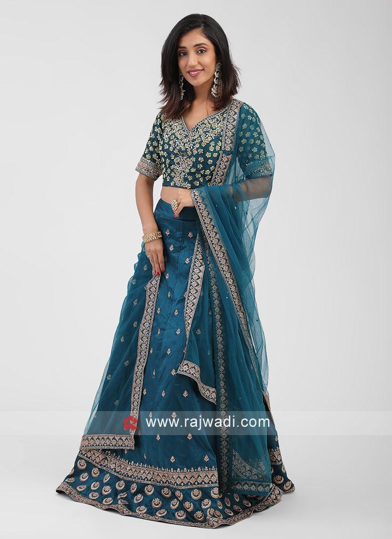 Silk Choli Suit In Peacock Blue Color