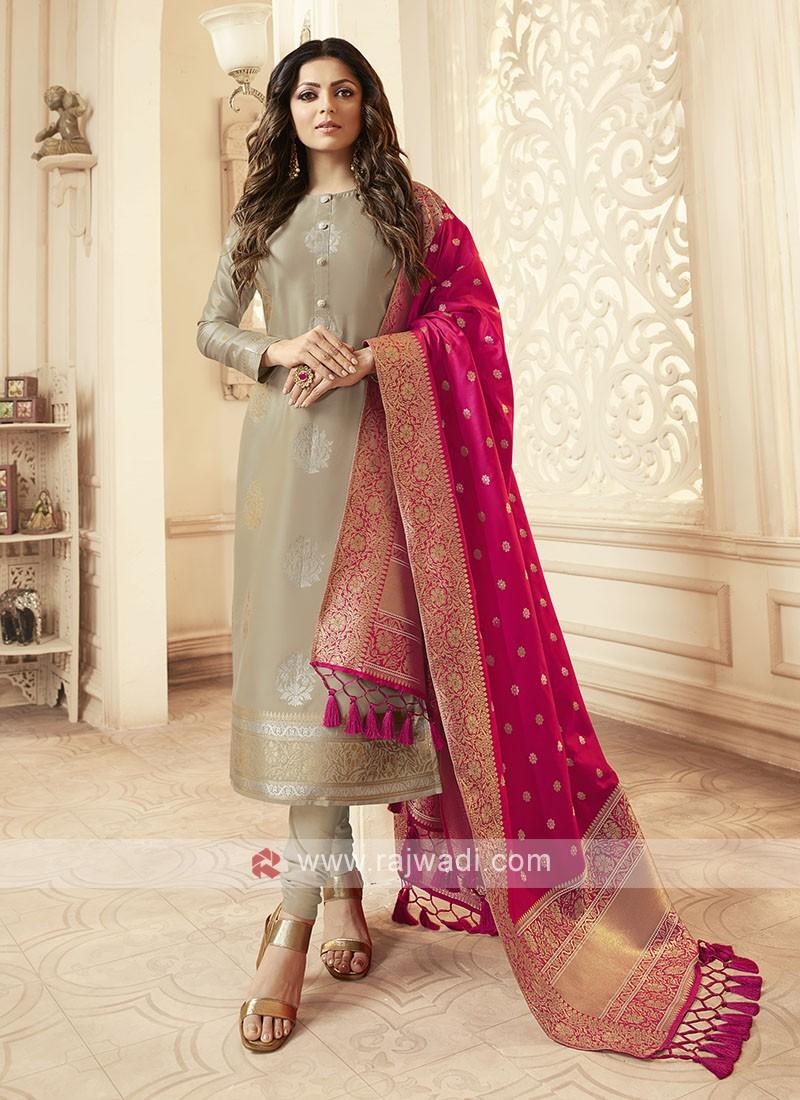 Silk Churidar Suit In Beige