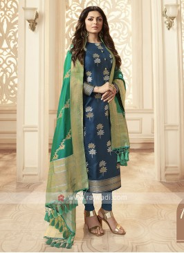 Silk Churidar Suit In Blue