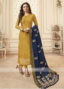 Silk Churidar Suit In Golden Yellow