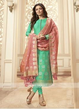 Silk Churidar Suit In Green