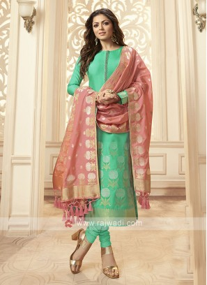 Silk Churidar Suit In Green