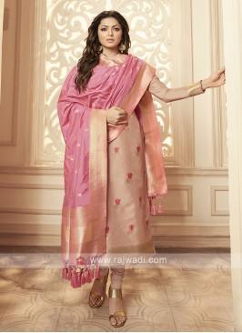 Silk Churidar Suit In Light Peach
