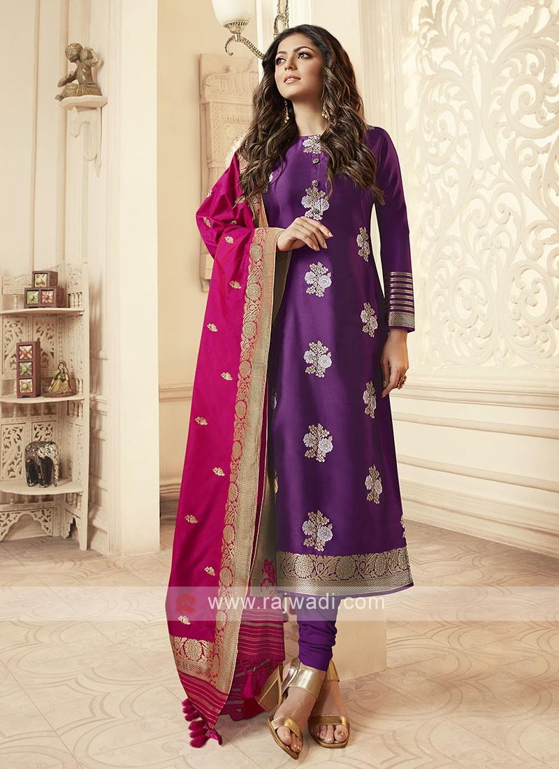Silk Churidar Suit In Magenta
