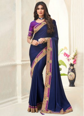 Silk Contemporary Saree in Blue