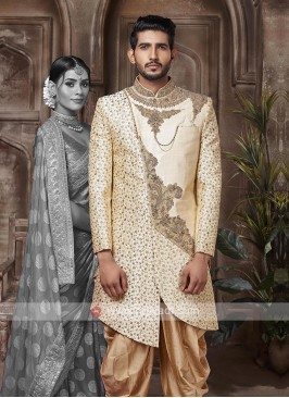 Silk Cream And Golden Sherwani