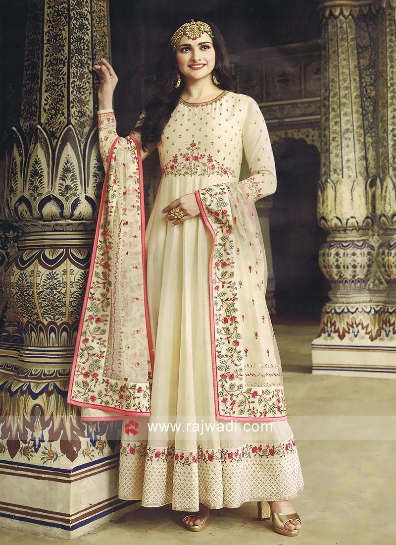 Silk Cream Dress Material