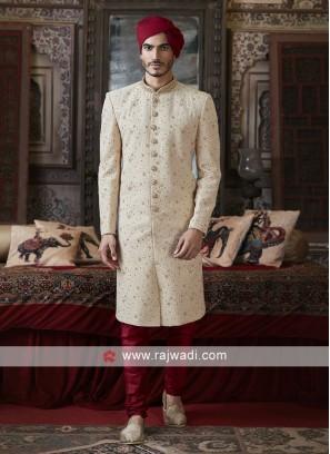 Silk Cream Sherwani For Wedding