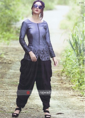 Silk Dark Grey Top with Dhoti Style Black Bottom