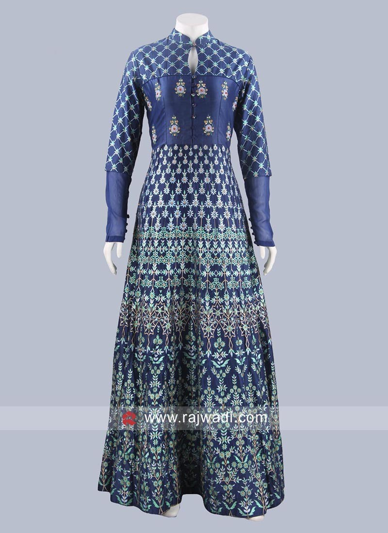 Silk Designer Anarkali Dress in Dark Blue