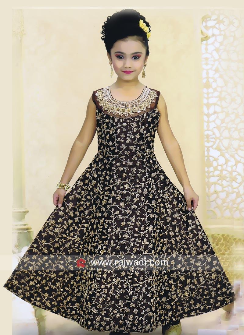 Silk Designer Floor Length Anarkali for Kids