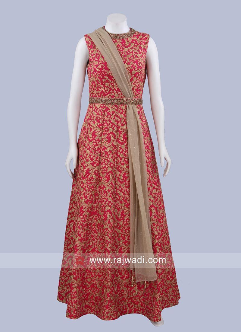 Silk Designer Gown with Dupatta