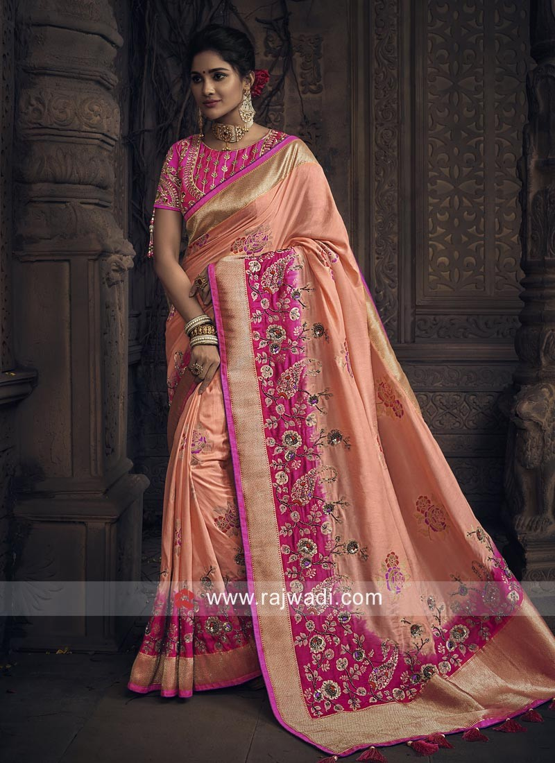 8bd56f4e39 Silk Designer Heavy Saree with Blouse. Hover to zoom