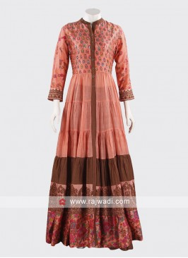 Silk Designer Palazzo Dress in Pink
