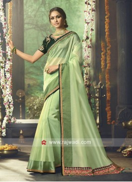Silk Designer Saree in Pista Green