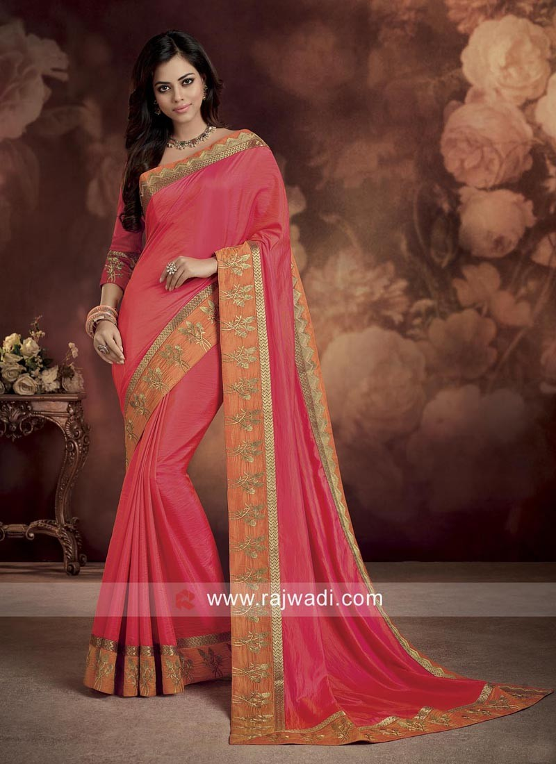 Silk Designer Saree with Contrast Border