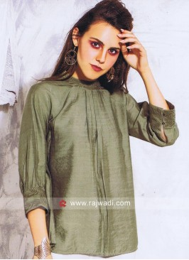 Silk Designer Top in Green