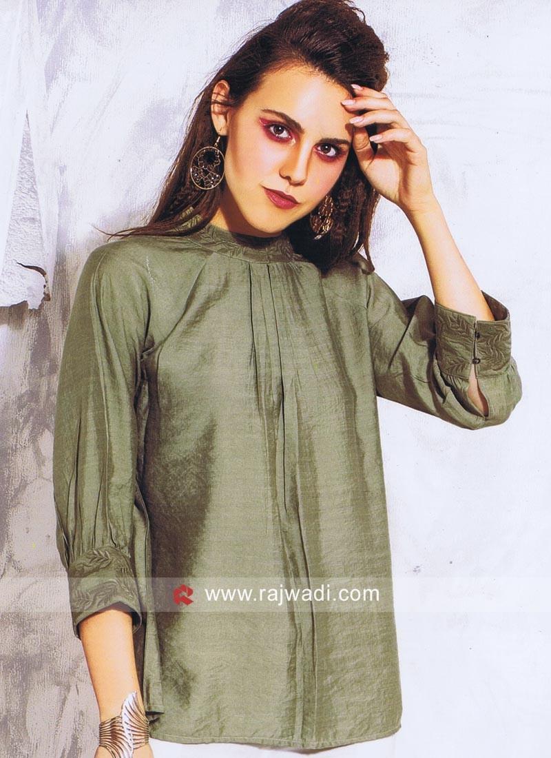 Silk Designer Top in Green