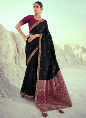 Silk Designer Traditional Saree in Black