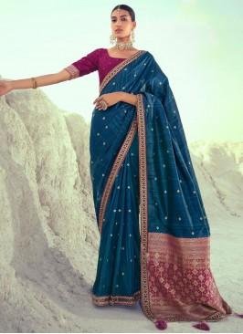 Silk Designer Traditional Saree in Blue
