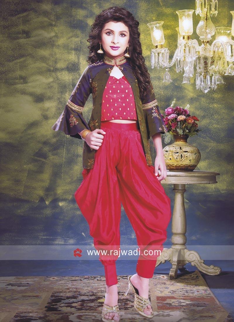 Silk Dhoti Suit with Stylish Koti