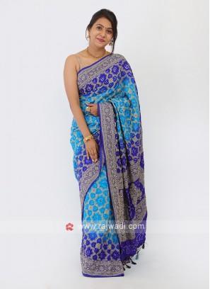 Silk Double Shaded Bandhani Saree