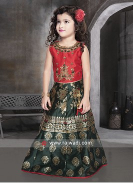 Silk Embroidered Choli Suit for Girls