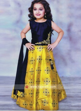 Silk Embroidered Choli Suit for Kids