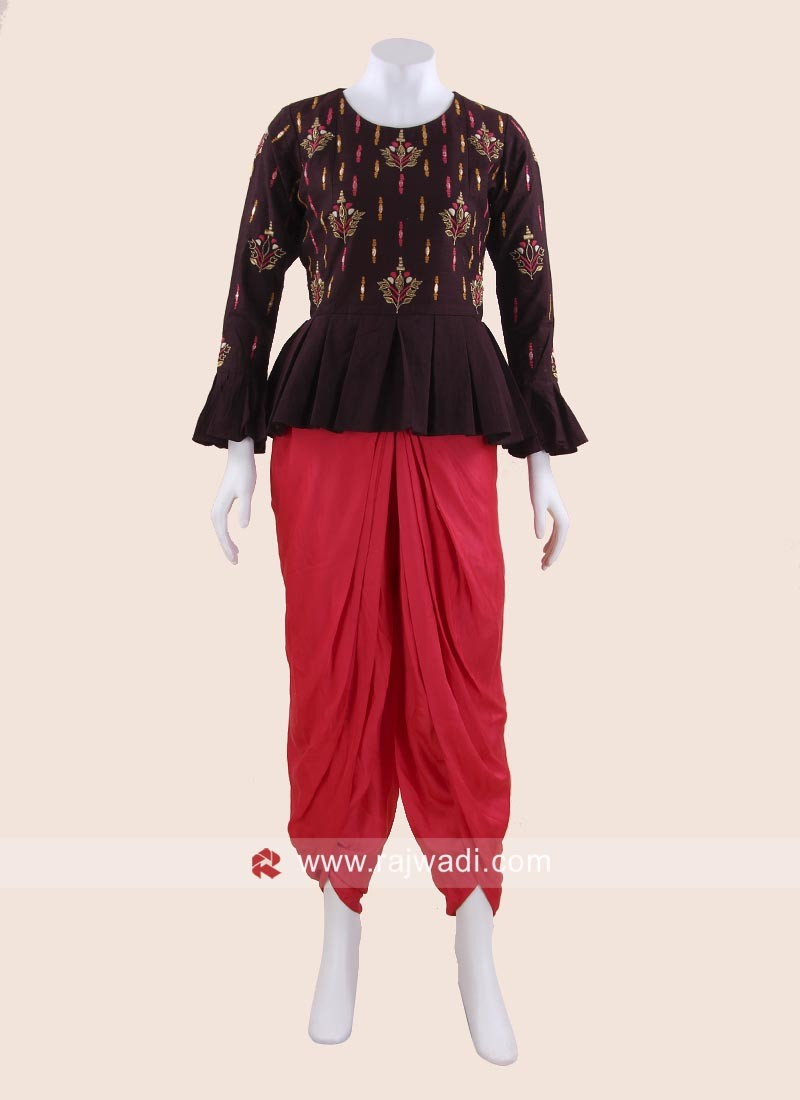 Silk Embroidered Crop Top with Dhoti Bottom