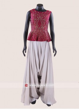 Silk Embroidered Crop Top with Dhoti Pant