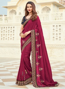 Silk Embroidered Designer Saree in Magenta