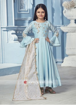 Silk Embroidered Girls Anarkali Suit