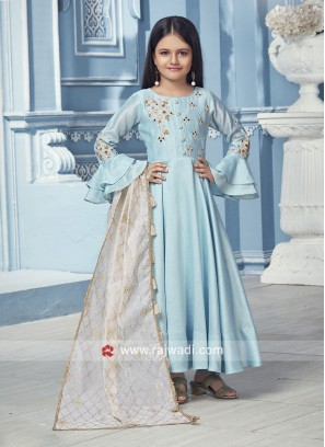 Silk Embroidered Girls Anarkali Suit