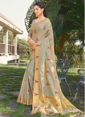 Silk Embroidered Grey Designer Traditional Saree
