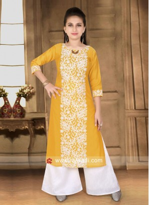 Silk Embroidered Kids Palazzo Suit