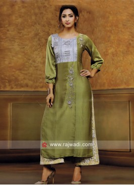 Silk Embroidered Kurti