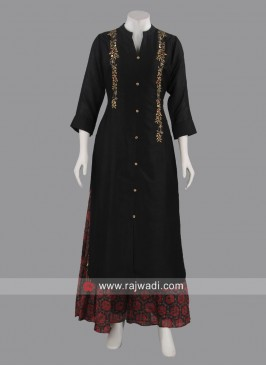 Silk Embroidered Kurti with Palazzo