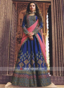 Silk Embroidered Lehenga Choli in Blue