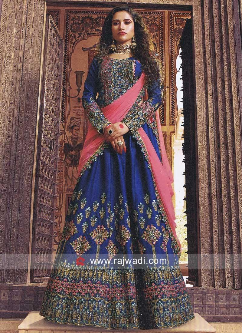 Silk Embroidered Lehenga Choli in Blue