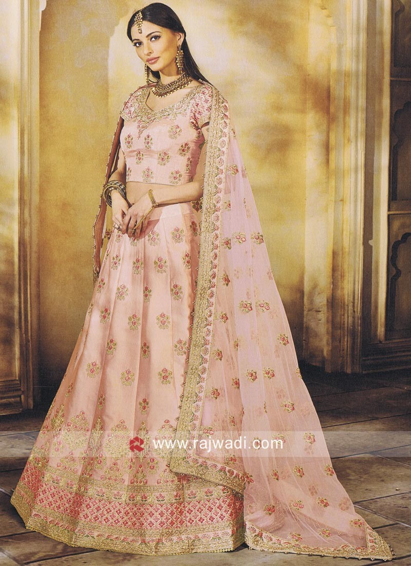 Silk Embroidered Lehenga in Peach